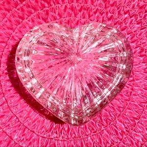 Vintage Beveled Glass Heart Jewelry Dish w/Lid